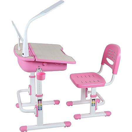 Leomark Bureau Ergonomique Avec Une Chaise et Lampe Pour Enfants Couleur Rosa Réglage En Hauteur - Tabouret d'Enfants Apprendre et s'Amuser Chambre d'Enfants Equipement de Salle Nouvelle Année Scolaire