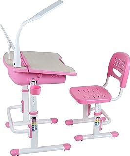 Leomark Bureau Ergonomique Avec Une Chaise et Lampe Pour Enfants Couleur Rosa Réglage En Hauteur - Tabouret d'Enfants Appr...