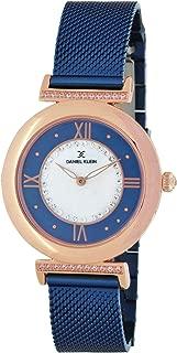 Daniel Klein Women's Wrist Watch (DK11459-3) - Mesh Watch Band - 35mm Analog Watch - Japanese Quartz Movement (Rose Gold Tone/Dark Blue)