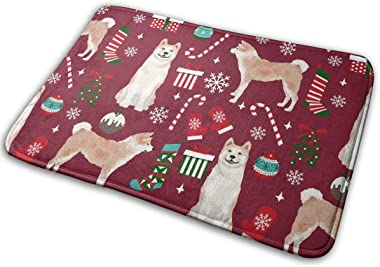 Akita Dog Breed Christmas Presents Candy Canes Snowflakes Ruby_30425 Doormat Entrance Mat Floor Mat Rug Indoor/Outdoor/Front