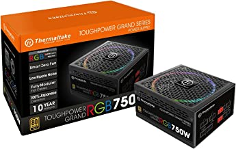 Thermaltake Toughpower Grand RGB 750W 80+ Gold Smart Zero 256-Color RGB Fan Fully Modular Power Supply 10 YR Warranty PS-TPG-0750FPCGUS-R