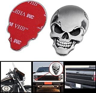 Wanheyao Car Motorcycle Awesome Skeleton Logo 3D Metal Emblem Badge Decal Skull Demon Bone Sticker Silver