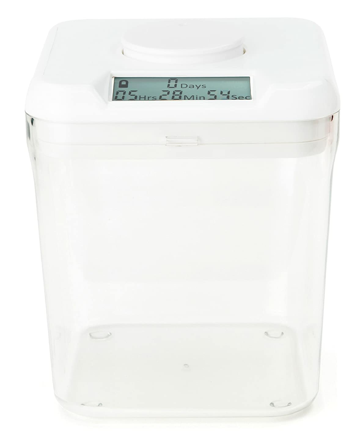 (White Lid+Clear Base-Smoke) - kSafe: Time Locking Container to help quit smoking - 14cm height