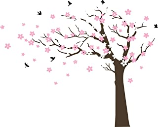 Large Cherry Blossom Tree Blowing in The Wind Tree Wall Decals Wall Sticker Vinyl Wall Art Kids Rooms Teen Girls Boys Wallpaper Wall Stickers Room Decor (Dark brown tree, white and pink flower,Left)