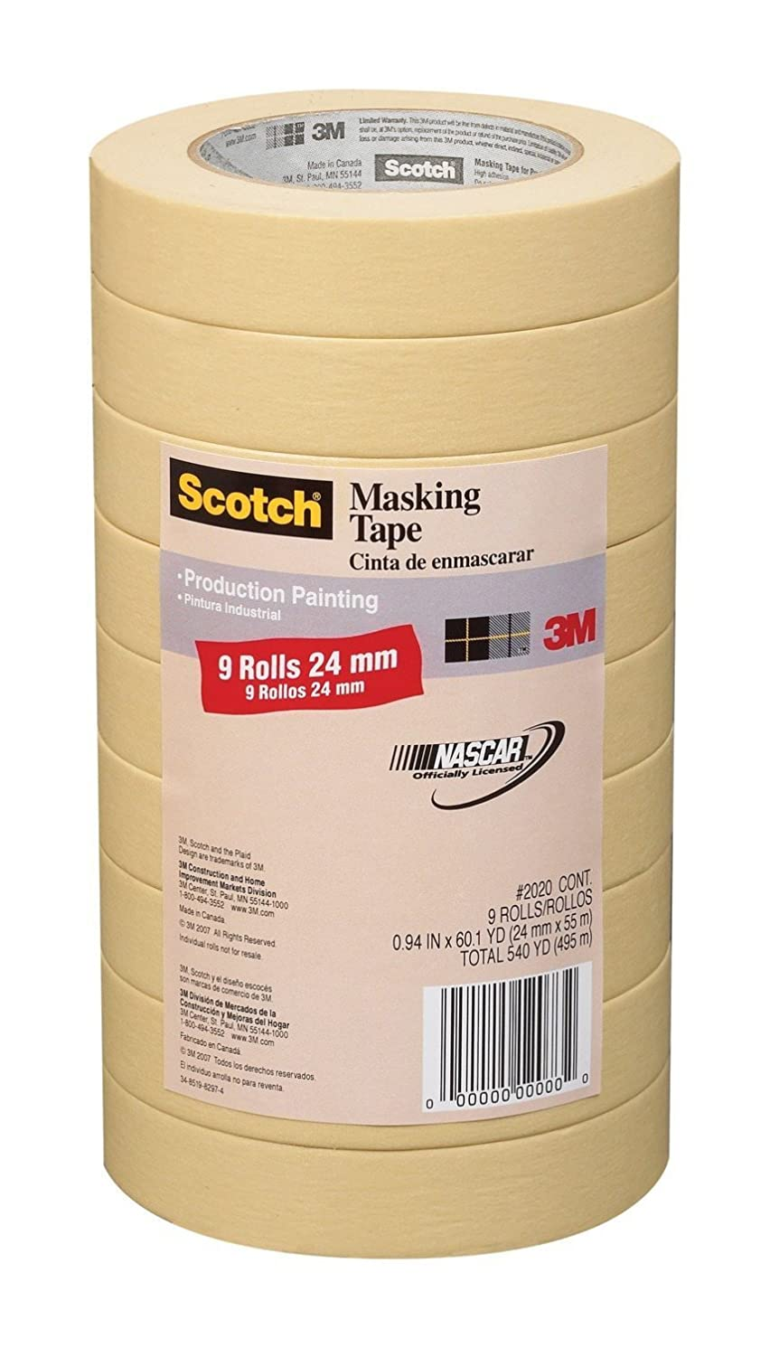 3M Scotch General Purpose Masking Tape 2020-24A-CP, 0.94-Inch by 60.1-Yards, 2 Set (9 Rolls)