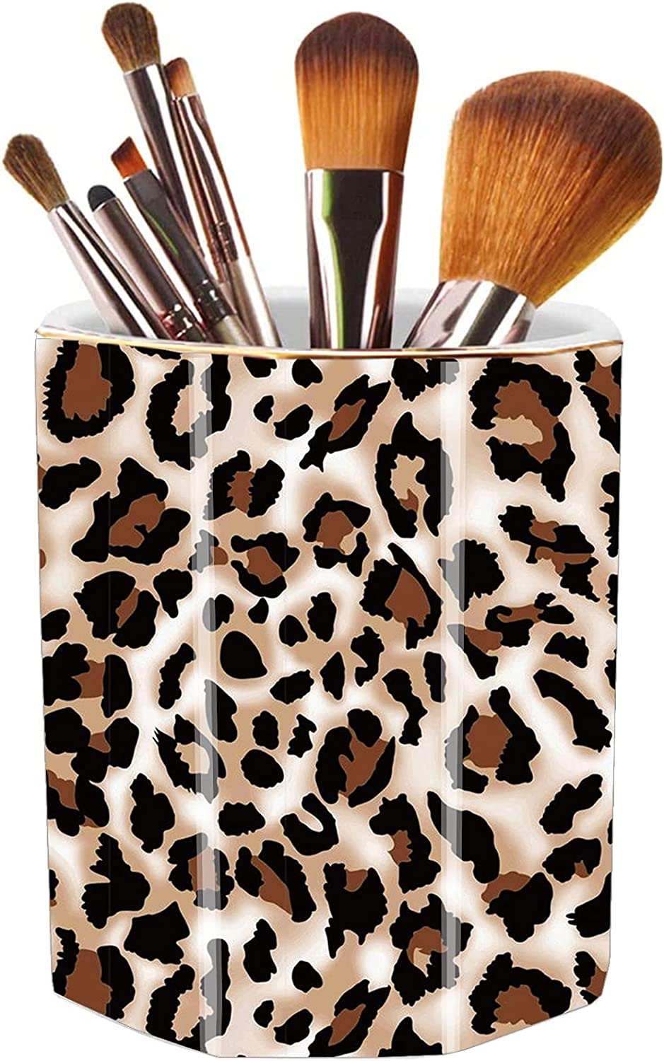 Jwest Pen Holder, Makeup Brush Holder Ceramic Shiny Gold Leopard Cheetah Pattern Animal Pencil Cup for Girls Women Durable Stand Desk Organizer Storage Gift for Office, Classroom, Home Light Brown