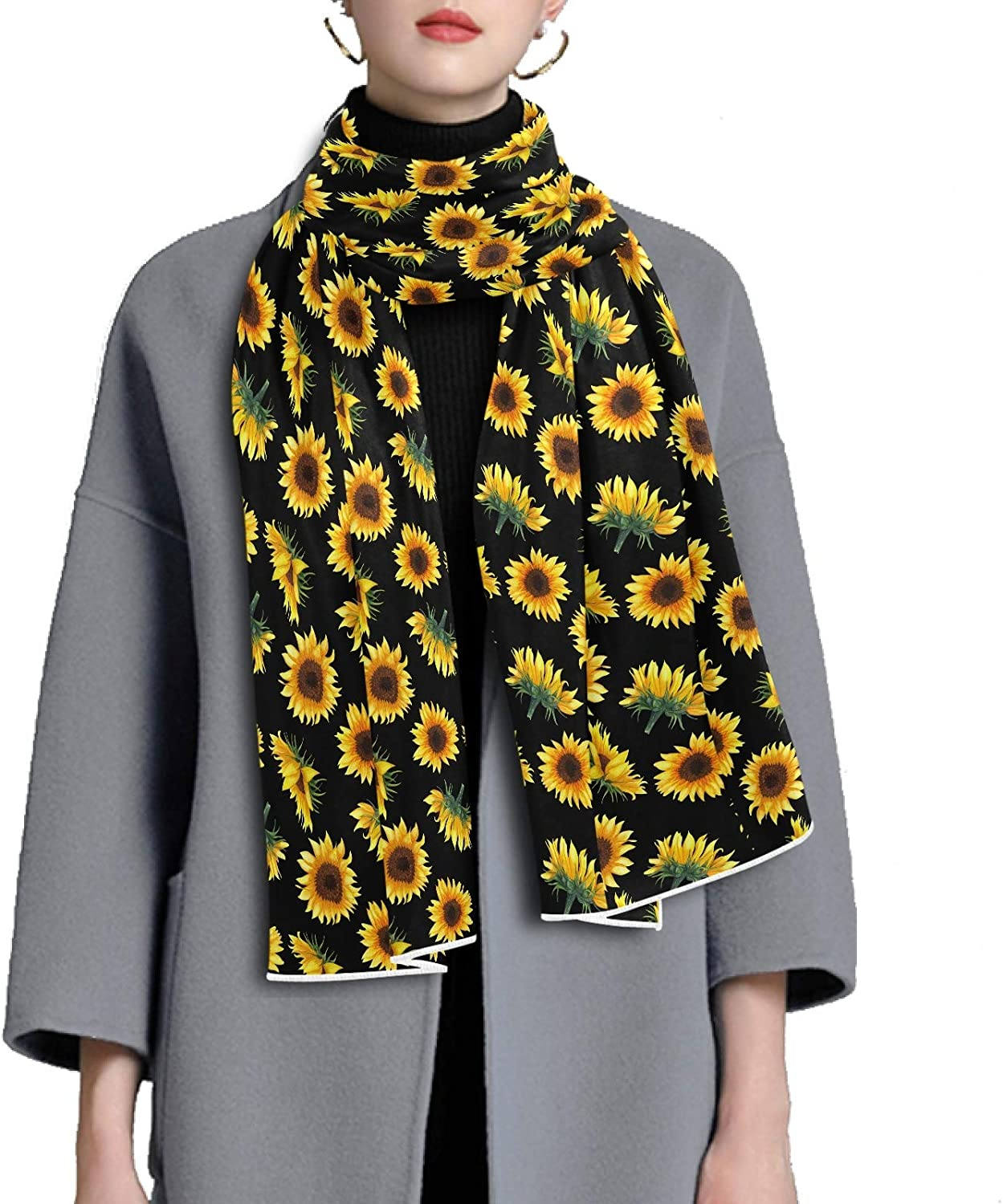 Scarf for Women and Men Sunflowers Black Blanket Shawl Scarf wraps Warm soft Winter Long Scarves Lightweight