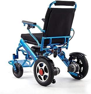 Plegable eléctrica de la silla de ruedas, ligero plegable Lntelligent Llevar sillas de ruedas eléctricas, sillas de ruedas duradero, seguro y fácil de conducir for extra confort, soporte 220 lb, azul