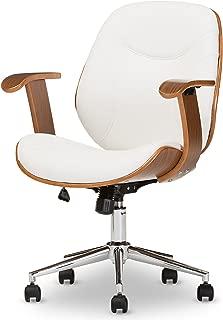 Baxton Studio Biset Modern & Contemporary Office Chair, Walnut/White