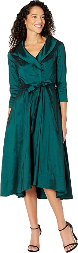 3/4 Sleeve Portrait Collar Dress with Full Skirt, Pockets and Tie Belt Detail