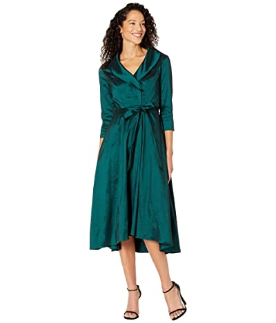 Alex Evenings 3/4 Sleeve Portrait Collar Dress with Full Skirt, Pockets and Tie Belt Detail