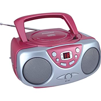 Sylvania SRCD243 Portable CD Player with AM/FM Radio, Boombox (Pink)