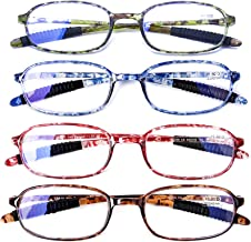 AQWANO 4 Pack Computer Reading Glasses Blue Light Blocking Lightweight TR90 Flexible Frame UV Protection Readers for Women...