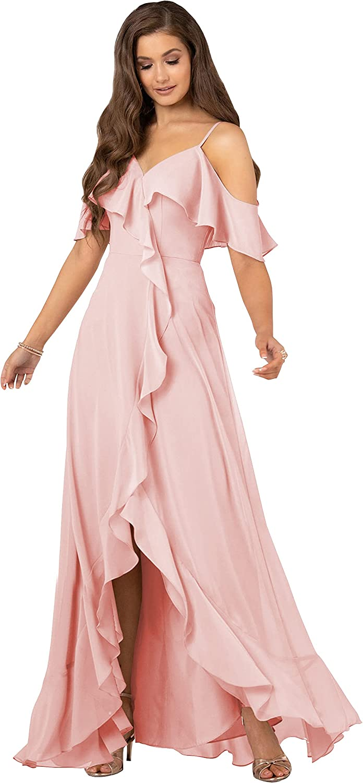 Ranking TOP14 MOZHETE Women's Chiffon Off The Shoulder w Bridesmaid Long Topics on TV Dress