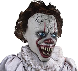 Pennywise Mask Halloween Costume Party Creepy Scary Decoration Props White