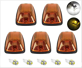 5pcs Smoke Cab Maker 264159BK Roof Running Clearance Light Cover Base +5x White T10 194 168 5050 LED Light Bulbs Replacement For 1988-2002 GMC Chevy C1500 C2500 C3500 K1500 K2500 K3500 Pickup