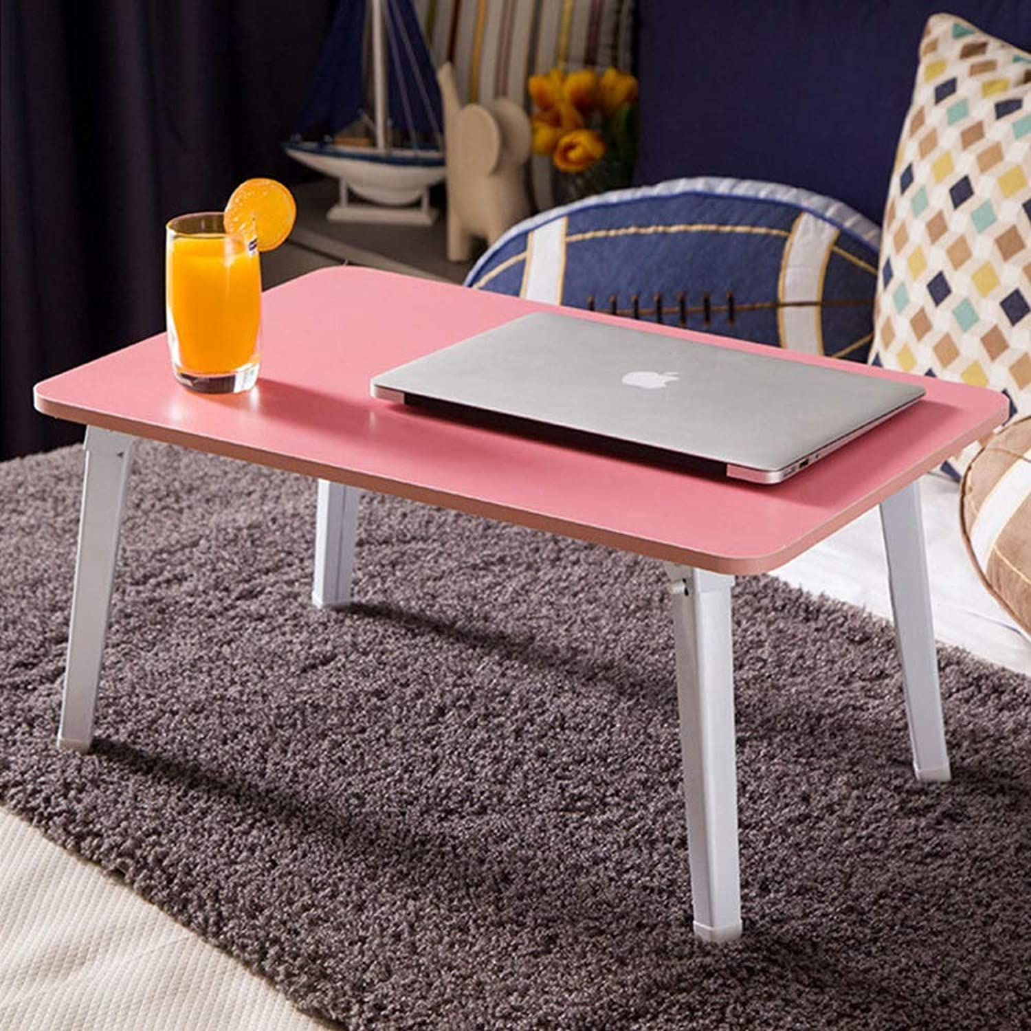 LiTing-Folding Table Foldable Table Bed Desk Computer Table Dormitory Small Table Simple Bedroom Office Home Computer Desk Pink (Size  60x40x30cm)