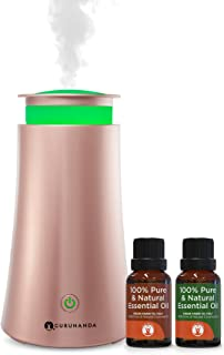 Oil Diffuser Humidifier - Rosegold Tower - GuruNanda Essential Oil Diffuser Kit - Aromatherapy Essential Oil Diffuser - LED Lights - Bonus Essential Oils - Perfect Starter Kit or Gift - 6 Hr Run Time