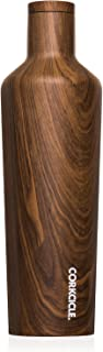 Corkcicle Canteen Classic Collection - Water Bottle & Thermos - Triple Insulated Shatterproof Stainless Steel, Walnut Wood, 25 oz