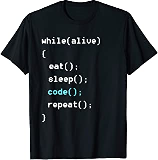 While Alive Eat Sleep Code Repeat T-Shirt - Programming Tee