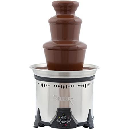 Sephra Elite Chocolate Fountain for Home, Whisper Quiet Motor, Chocolate Fondue Fountain Electric, Stainless Steel Heated Basin, QuickSet Tier Assembly, 19 Inches, 4-6 lb Capacity, Serves 40-50