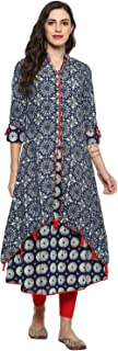 Yash Gallery Indian Tunic Tops Women's Cotton Layered Printed Kurta & Inner Set (Blue)