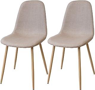 Albatros FANO Set de 2 Retro sillas de Comedor Beige, SGS Probado