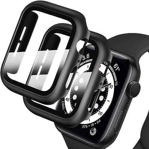 Deilin [2 Pièces] Protecteur Écran en Verre Trempé et PC Coque Compatible avec Apple Watch Serie 1 Série 2 Série 3 38...