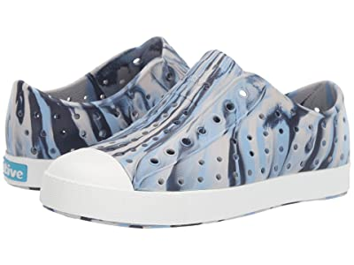 Native Kids Shoes Jefferson Marbled (Little Kid/Big Kid) (Washed Blue/Shell White/Marbled) Kids Shoes