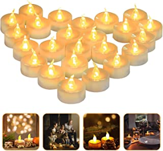 LED Light Tea Candles, 24 Electric Candles Party Decorations, Non-Toxic Smoke Free Non-Toxic Tea Light Long-Lasting Batter...