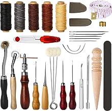 Sangmei 31 unidades de ferramentas de costura de couro kit de costura artesanal de couro DIY com dedal encerado de furador...