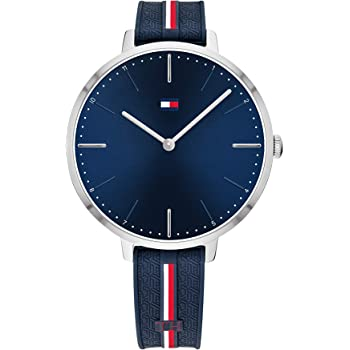 Tommy Hilfiger Women's Stainless Steel Quartz Watch with Silicone Strap, Blue, 13 (Model: 1782154)