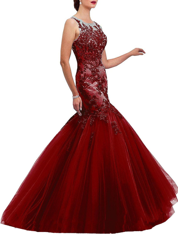 Ellenhouse Women's Long Applique Mermaid Tulle Prom Party Evening Dress EL226