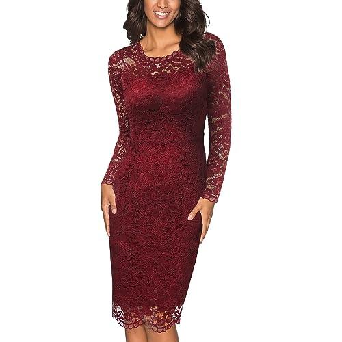 9014cecb8a Joy EnvyLand Women s Elegant Stretch Floral Lace Paryt Prom Midi Dress