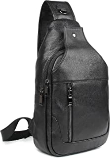 Polare Men's Real Italian Leather Casual Daypack Sling Shoulder Chest Crossbody Bag(Large)