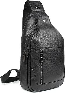Texbo Genuine Full Grain Leather Crossbody Sling Bag Travel Hiking Backpack Daypacks
