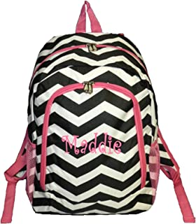 Personalized Chevron Backpack - Girls Canvas Booksack Black with Hot Punk Trim Full Size School Backpack