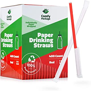 [400 Pack] Paper Drinking Straws - Individually Paper Wrapped - 100% Biodegradable - Red