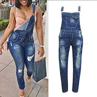 5091bf57648 Leedford Women s Classic Distressed Skinny Jumpsuit Overalls Strap Hole Trousers  Pants Rompers