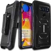 LG V40 ThinQ/LG V40 2018, COVRWARE [ Aegis Series ] Case with Built-in [Screen Protector] Heavy Duty Full-Body Rugged Holster Armor Case [Belt Swivel Clip][Kickstand], Black