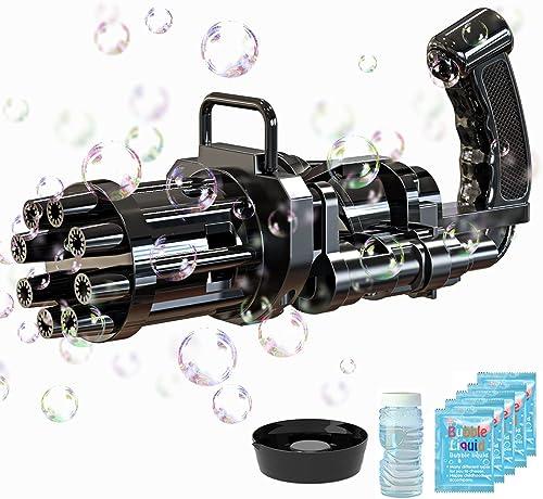 discount Bubble popular Gun, Gatling Bubble Machine 2021 Bubble Gun 8-Hole Bubble Toy for Toddler, Automatic Bubble Maker Machine popular Electric Bubble Gun, Children's Bubble Gun for Summer Outdoor Activities(Black) outlet online sale