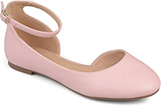 Womens Wide Width D'Orsay Ankle Strap Round Toe Flats