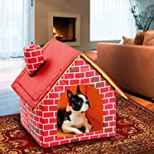 Studyset Detachable Washable Dog Bed, Red Brick Dog House Single Room Chimney House Dog Kennel Cattery Tent Nest Dogs Cats Home