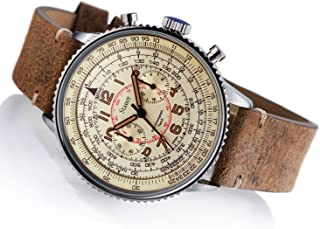 Stauer Men's Stainless Steel Co-Pilot Watch with Brown Leather Band