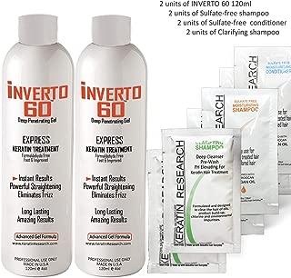 INVERTO 60 Advanced Gel Complex Brazilian Keratin Hair Blowout Treatment Formaldehyde Free Straightening Smoothing and Repairing Damaged Hair Keratin Research (Long Hair-240ml)