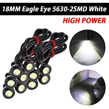 Pack of 10 TABEN 18mm LED Amber Eagle Eye Car Light High Power 9W LED Daytime Running DRL Tail Reverse Backup Parking Signal Bulbs 12V