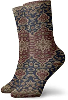 Alu20haoing Men's And Women's Fashion Cool Printed Soft Casual Socks, Multi-color Pattern Novel FUN Breathable And Durable Dress Long Socks For Unisex - Burgundy and blue tapestry painted