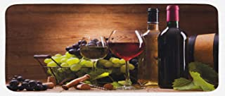 Ambesonne Wine Kitchen Mat, Glasses of Red and White Wine Served with Grapes French Gourmet Tasting, Plush Decorative Kithcen Mat with Non Slip Backing, 47