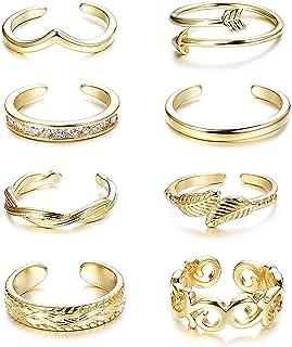 Finrezio 8 Pezzi Anelli Dita per Donne Anello Regolabile Piede Anello Aperto Tono Argento/Oro/Oro Rosa