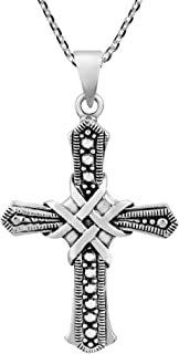 AeraVida Unique Faith Wrapped Woven Cross .925 Sterling Silver Pendant Necklace